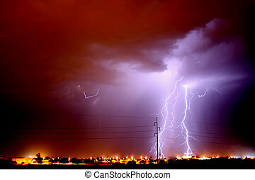flash lightning - Lightning storm over Tucson AZ during the ...