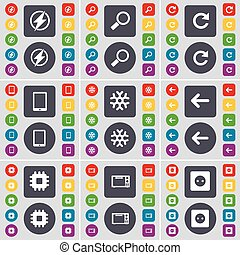 Flash, Magnifying glass, Reload, Tablet PC, Snowflake, Arrow left, Processor, Microwave, Socket icon symbol. A large set of flat, colored buttons for your design. Vector