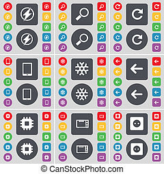 Flash, Magnifying glass, Reload, Tablet PC, Snowflake, Arrow left, Processor, Microwave, Socket icon symbol. A large set of flat, colored buttons for your design.