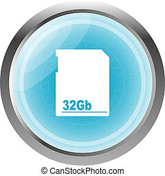 flash memory card blue web button (icon) isolated on white
