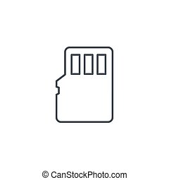 Flash memory SD card thin line icon. Linear vector symbol -...