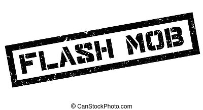 Flash mob rubber stamp on white. Print, impress, overprint.
