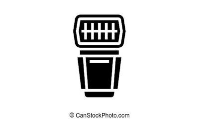 flash photo camera animated glyph icon. flash photo camera sign. isolated on white background