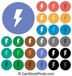 Flash round flat multi colored icons
