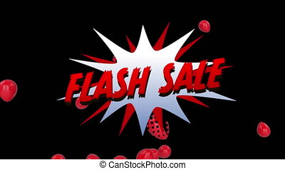 Flash salegraphicwith balloons on black background