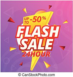 Flash Sale 24 Hour Up To 50% Off Bolt Background Vector Image