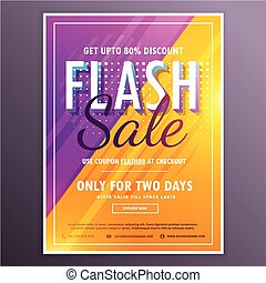 flash sale banner template vector design with bright purple and yellow colors