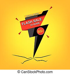 Flash Sale banner. Vector illustration