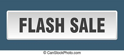 flash sale button. flash sale square white push button