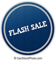 FLASH SALE distressed text on blue round badge.