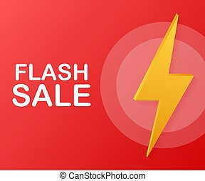 Flash sale. Flash ribbon banner, scroll, price tag, sticker, badge, poster. Vector illustration.