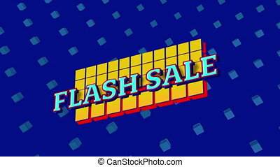 Flash sale graphic on blue background