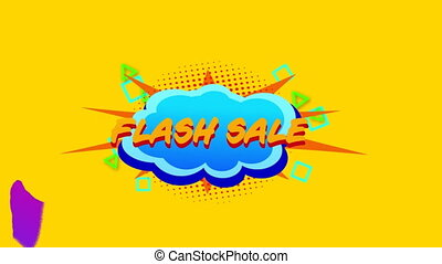 Flash sale graphic on cloud shaped banner