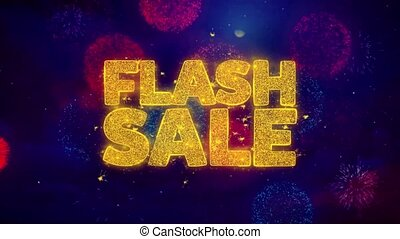 Flash Sale Greeting Text Sparkle Particles on Colored Fireworks