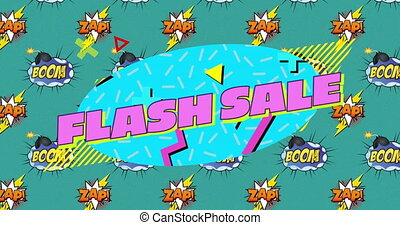 Flash sale over boom and zap text on speech bubbles against ...