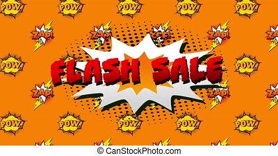 Flash sale, pow and zap text on speech bubble against orange...