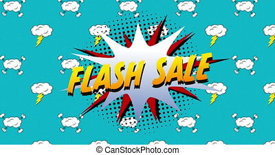 Flash sale text on speech bubble against blue background - ...
