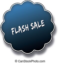 FLASH SALE text written on blue round label badge.