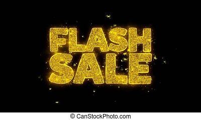Flash Sale Typography Written with Golden Particles Sparks...
