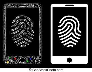flash, smartphone, empreinte doigt, taches, maille, clair, ...