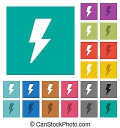 Flash square flat multi colored icons