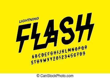 flash, style, police, éclair