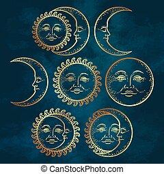 Flash tattoo set gold sun and moon - Boho chic flash tattoo...