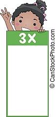 flash, trois, multiplication, table, girl, carte, gosse