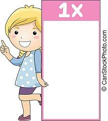 flash, une, multiplication, table, girl, carte, gosse