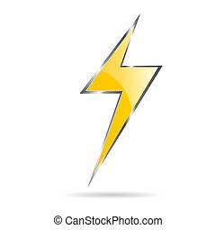 flash, vetorial, amarela, ilustração, sinal