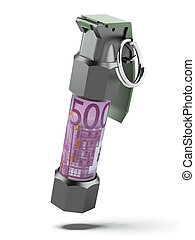 Flashbang Grenade with stack of euro bills
