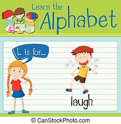 flashcard, γελάω , l , γράμμα