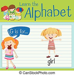 flashcard, 女の子, 手紙g