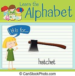 flashcard, 手紙h, ある, ∥ために∥, 手斧