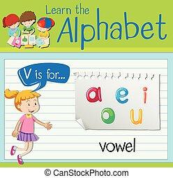flashcard, 母音, 手紙, v