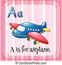 Flashcard alphabet A is for airplane