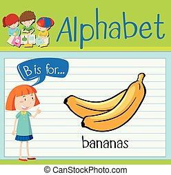 Flashcard alphabet B is for bananas illustration