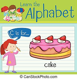 Flashcard alphabet C is cake