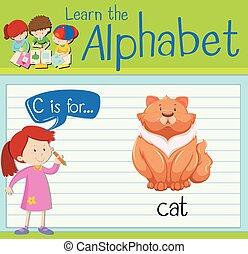 Flashcard alphabet C is for cat