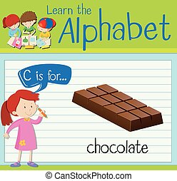 Flashcard alphabet C is for chocolate