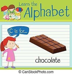 Flashcard alphabet C is for chocolate
