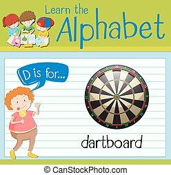 Flashcard alphabet D is for dartboard