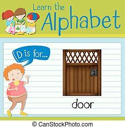 Flashcard alphabet D is for door