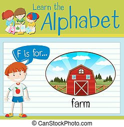 Flashcard alphabet F is for farm
