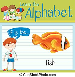 Flashcard alphabet F is for fish