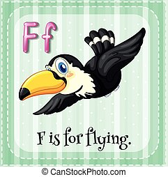 Flashcard alphabet F is for flying