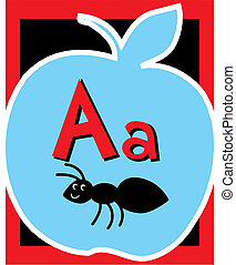 Flashcard Alphabet - Flash Card Letter A nouns. There is one...