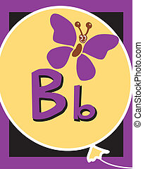 Flashcard Alphabet - Flash Card Letter B nouns. There is one...