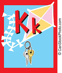 Flashcard Alphabet - Flash Card Letter K nouns. There is one...