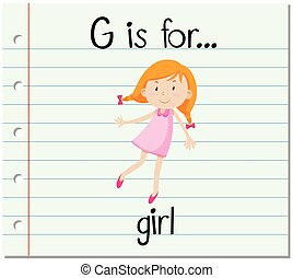 Flashcard alphabet G is for girl